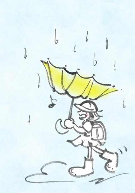 雨の日の筆文字イラスト