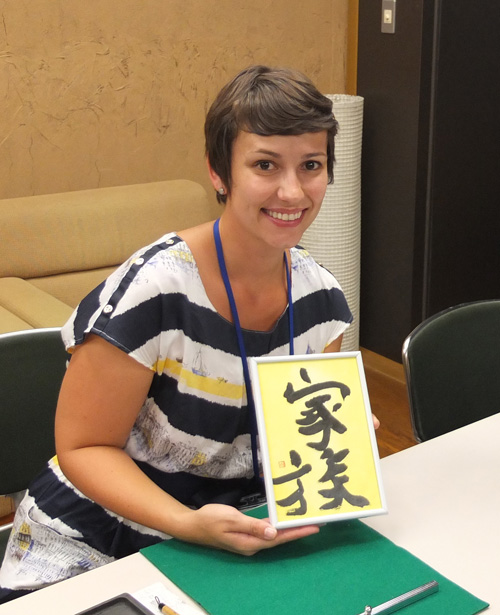 外国人に書道教室5